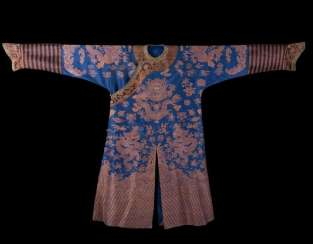 China Qing Dynasty 19th Century blue silk dragons Robe