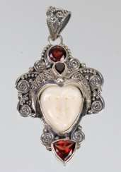 Mask pendant with garnet