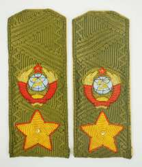 Soviet Union: Pair of shoulder boards for a field uniform of a marshal. Olive colored fabric