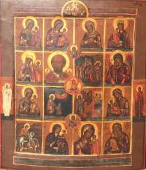 Icon-mnogochastny with a few stories. A branch of the XIX century.