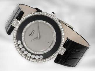 "Watch: luxurious, large ladies watch Chopard Happy Diamonds ""Big size"", in 18K white gold, ref. H2563, 80s"