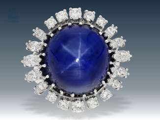 Ring: a large vintage gold wrought ring with a high, fine, untreated Ceylon star sapphire of approx. 42ct and the finest brilliant-cut diamonds, 2 independent gemmological report, today's value approx. 210.000€