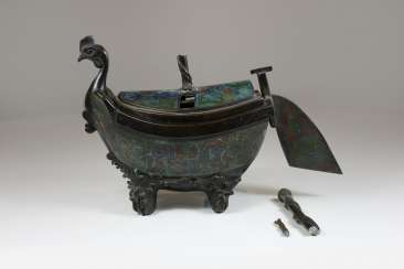 Incense burner in boat form, China 19. Century