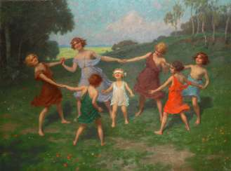 HAPPY, Simon: art Nouveau-style painting of girl dance in the spring.