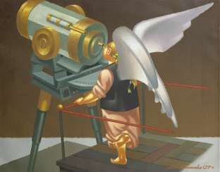 OVCHINNIKOV, VLADIMIR (1941-2015) Angel at the Telescope , signed and dated 2007, also further signed, titled in Cyrillic and dated on the reverse.