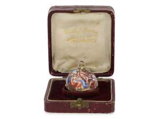 Halsuhr: extremely rare Gold/enamel Miniature in the style of the Renaissance, signed Dutertre Paris, 1800