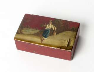 Red lacquer box with water-winner