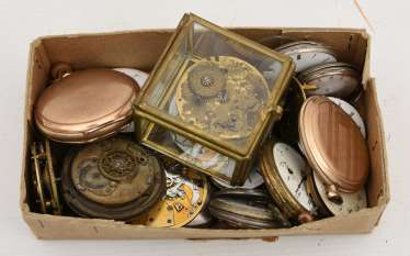 COLLECTION OF BROKEN POCKET WATCHES AND WATCH MOVEMENTS, 19./20. Century