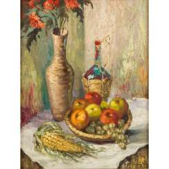 "STEINER, H. (painter / 20th century), ""Still life with corn on the cob"","