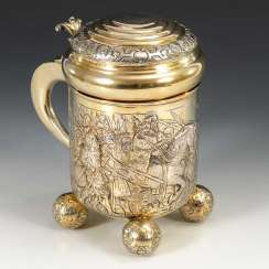 Large silver ball caster tankard.