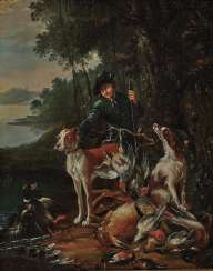 Johann Elias Ridinger - A hunter with his dogs and prey in a river landscape