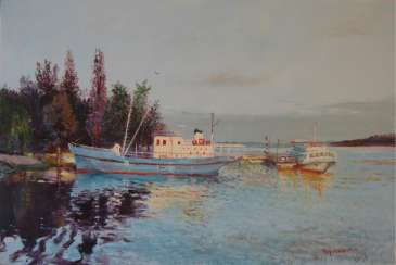 Original landscape painting oil on canvas, Evening on the Dnepr river