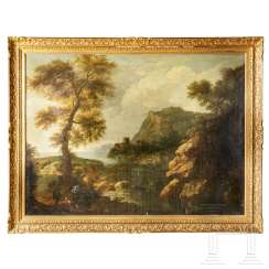Italo-Flemish old master - landscape representation with staffage, 17th century