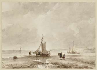Beach scene with fishing boats , for example, Andreas 1787 The Hague - 1870, ibid.