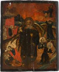 LARGE-FORMAT ICON WITH THE PROPHET ELIJAH, HIS LIFE IN THE DESERT AND HIS FIERY ASCENSION