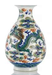 Doucai bottle vase with dragon decoration, between clouds and flames made of porcelain