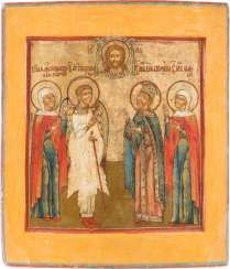ICON WITH FOUR PATRONAL SAINTS, AND OF THE MANDYLION