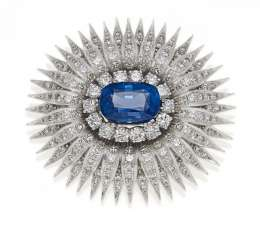 VITZTHUM sapphire and diamond brooch. München, 1960