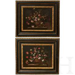 A pair of large flower still lifes, Roman School, Italy, 17th century