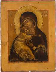 A FINE ICON OF THE MOTHER OF GOD OF VLADIMIR (VLADIMIRSKAYA)