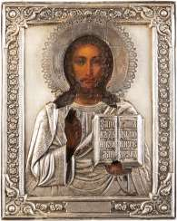 ICON WITH CHRIST PANTOKRATOR WITH SILVER OKLAD