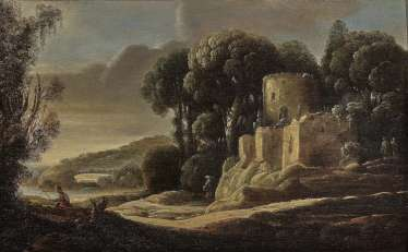 Gottfried (Goffredo) Wals - Landscape with ruins and figure staffage