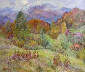 Clouds come down from the mountains Painting by Aleksandr Dubrovskyy