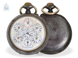 Pocket watch: rare and unusual world time clock, former noble possession, CA. 1890