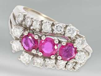 Ring: very decorative, white, Golden, vintage, ruby/brilliant gold wrought ring, 18K white gold