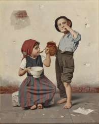 Two children eating - the broken shell