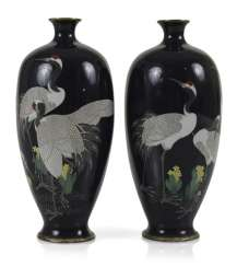 Pair of Cloisonné vases with crane decoration