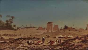 Théodore Frère - Resting caravan in front of the ruins of the Temple of Karnak - Cowherd on the banks of the Nile
