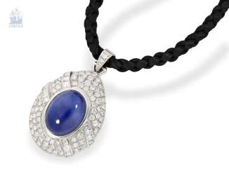 Chain/necklace/pendant: modern and very high-quality sapphire/brilliant-gold forged pendant, 18K white gold, the untreated, high fine sapphire of approx. 13ct