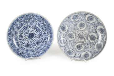Two porcelain plates with blue-and-white decor