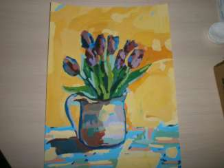 Pictures: Pictures: Inexpensive picture. Flowers. Tulips in a jug.