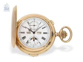 Pocket watch: heavy and extra-large astronomical gold savonnette with 6 complications, Le Phare for the Russian market, around 1900