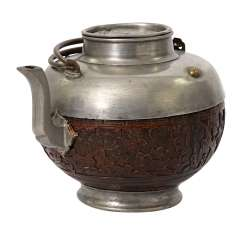 Teapot made of Tin, and coconut. CHINA, 1. Half of the 20. Century.