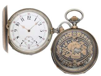 Pocket watch: extremely gorgeous Tula-Savonnette rose gold/silver, anchor-Chrono-meter-high fine quality, B. Haas Jne & Cie, Geneve, No. 16067, CA. 1890