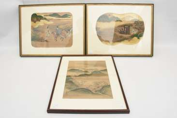 THREE ASIAN PAINTINGS on silk/paper/ink,framed behind glass, some signed/stamped, China/Japan, 19./20. Century