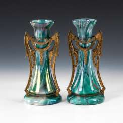 Pair of art Nouveau vases with gold plated B