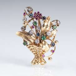 Vintage flower brooch with brilliant-trim