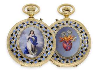 Pocket watch: gold / enamel savonnette with unusual case decoration, Guinand & Fils Locle for the South American market, around 1860