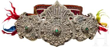 Large filigree ornate belt buckle made of silver, Ottoman, 19th century. Century
