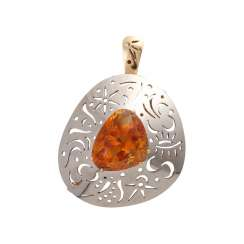 Pendant/brooch with orange-brown citrine