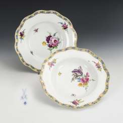 2 soup plates with flower painting