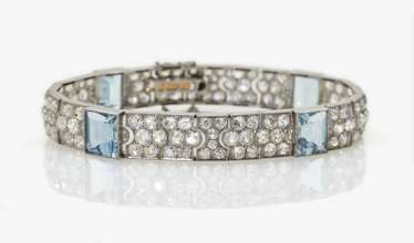 Cocktail bracelet with diamonds and aquamarines, USA, 1925-1930s