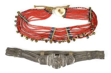 Silver belt and coral necklace