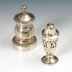 Pepper mill and salt tax, silver.