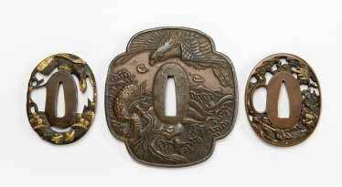 Three Tsuba with decoration of birds of prey and Samurai