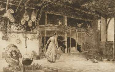 Peasant women in the cowshed